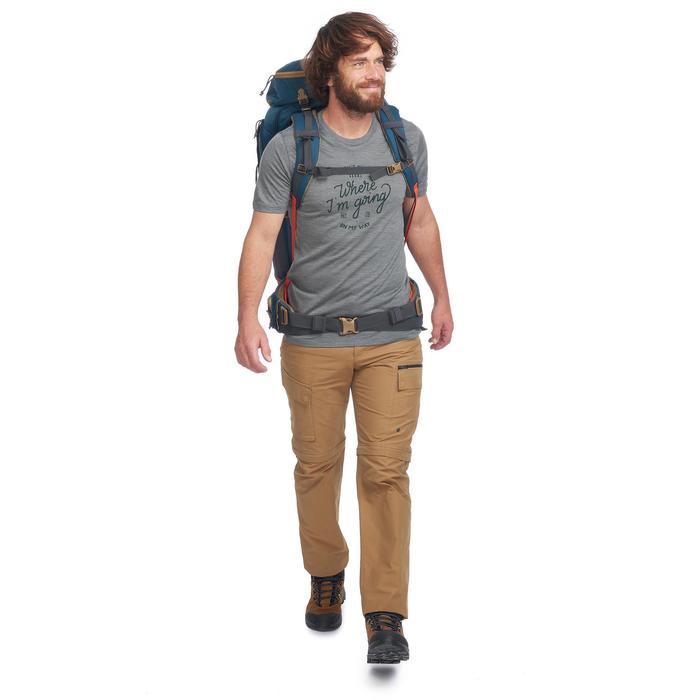 Tee-Shirt manches courtes trekking TRAVEL500 WOOL homme kaki