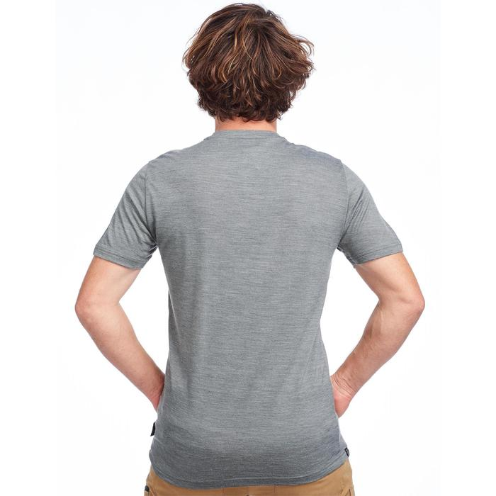 Camiseta Manga Corta de Montaña y Trekking Forclaz 500 Lana Merina Hombre Caqui