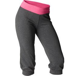 Dames kuitbroek voor zachte yoga, biokatoen, grijs / roze