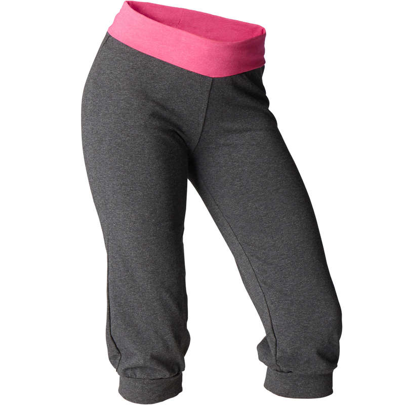 WOMAN YOGA APPAREL Fitness and Gym - Women's Gentle Yoga Organic Cotton Cropped Bottoms - Grey/Pink DOMYOS - Gym Activewear