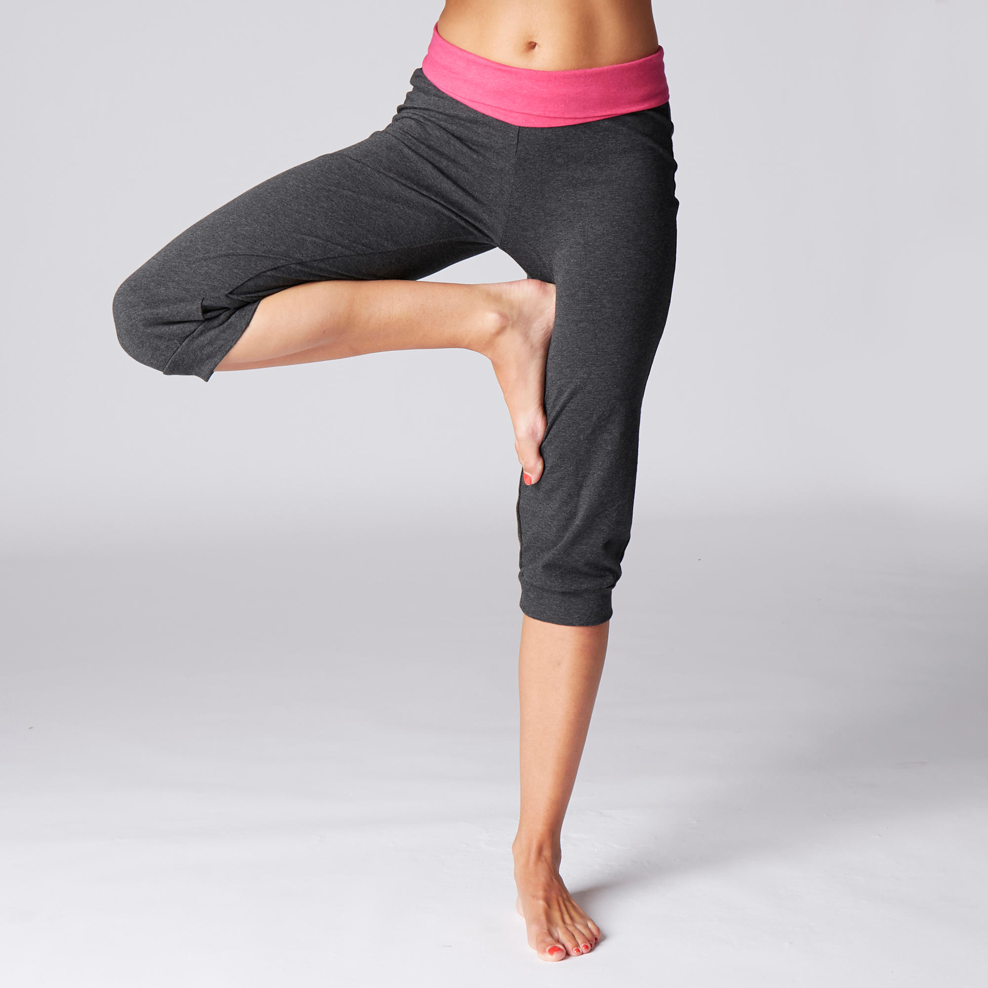 Women's Organic Cotton Gentle Yoga Cropped Bottoms - Grey/Pink