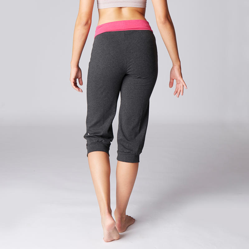 Women S Organic Cotton Gentle Yoga Cropped Bottoms Grey Pink