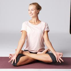 3/4-Hose sanftes Yoga Damen grau/rosa