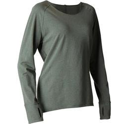 Camiseta Manga Larga Yoga Domyos 100 Suave Mujer Verde Oscuro Algodón Bio