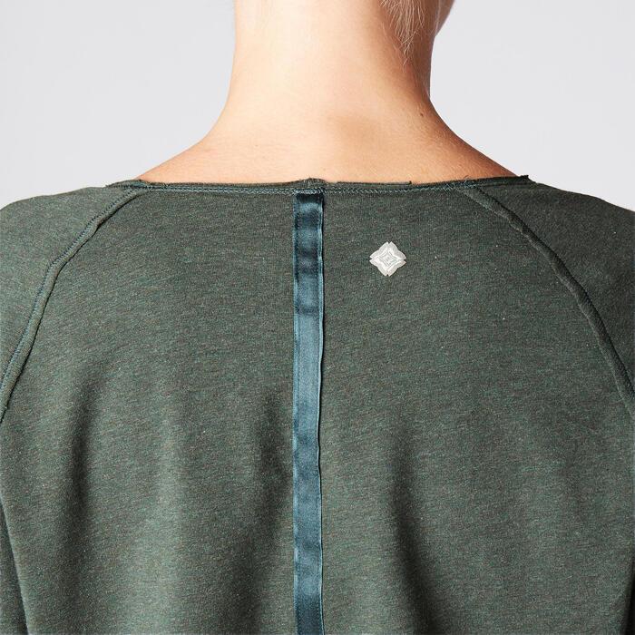Shirt met lange mouwen in biokatoen zachte yoga groen
