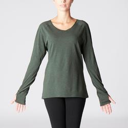 Camiseta Manga Larga Yoga Domyos 100 Algodón Bio Mujer Verde oscuro