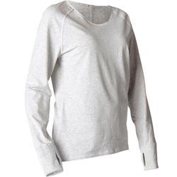 Camiseta Manga Larga Yoga Domyos 100 Algodón Bio Mujer Gris claro