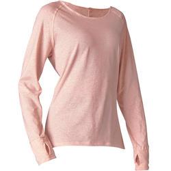 Camiseta Manga Larga Yoga Domyos 100 Suave Mujer Rosa Claro Algodón Bio