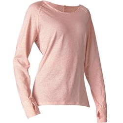 Shirt met lange mouwen in biokatoen zachte yoga roze