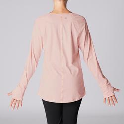 Camiseta Manga Larga Yoga Domyos 100 Algodón Bio Mujer Rosa claro