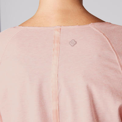 تيشيرت يوجا طويل الأكمام مصنوع من القطن العضوي للسيدات - وردي