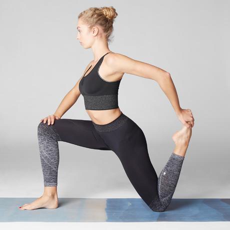 Seamless Long Dynamic Yoga Sports Bra - Black Silver  587ec849c94