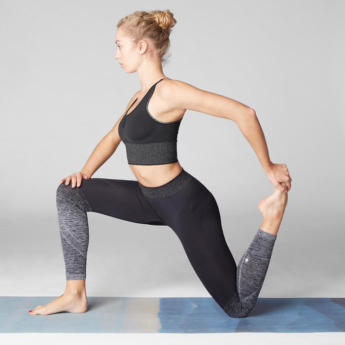 Bustier lang nahtlos für dynamisches Yoga schwarz/silver