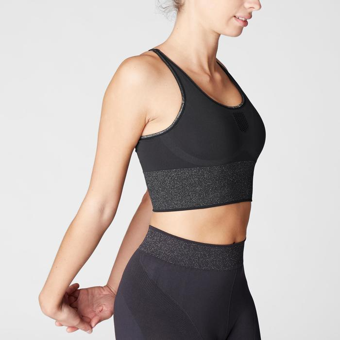 Seamless Long Dynamic Yoga Sports Bra - Black/Silver