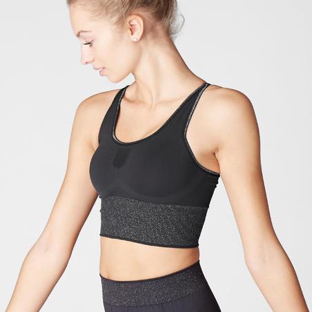 Seamless Long Dynamic Yoga Sports Bra - Black/Silver