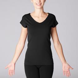 Camiseta Manga Corta Yoga Mujer con Motivos Calados Negro