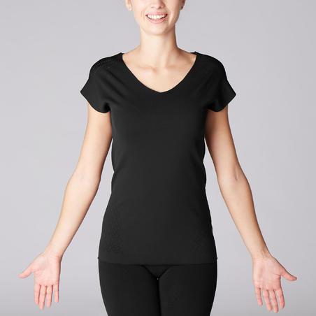 T-Shirt Yoga Second Skin Dynamic Tech Wanita - Black/Openwork Design