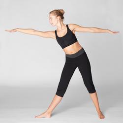 Top Sujetador Deportivo Yoga Domyos Sin costuras Mujer Negro