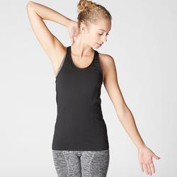 Camiseta Sin Mangas Yoga Domyos 500 Sin costuras Mujer Negro