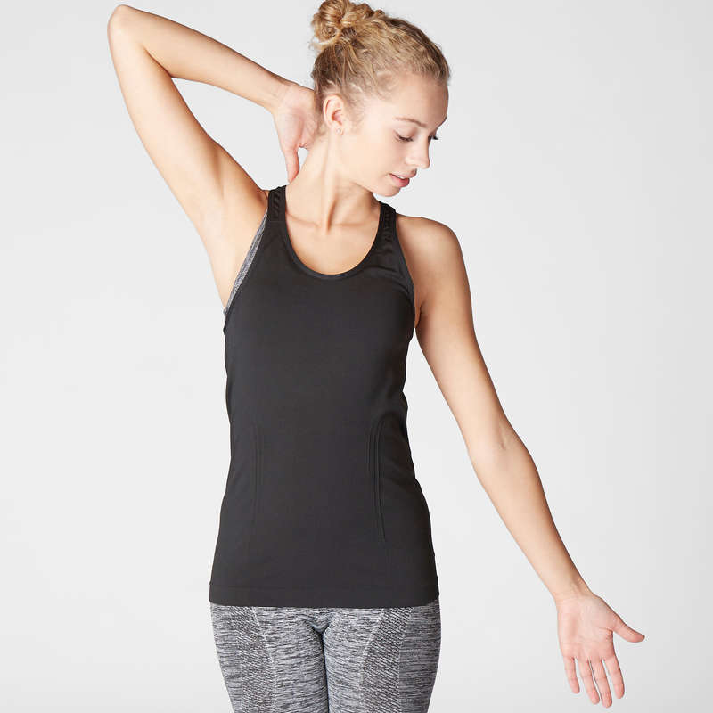 WOMAN YOGA APPAREL Clothing - Women's Seamless Yoga Tank Top DOMYOS - By Sport