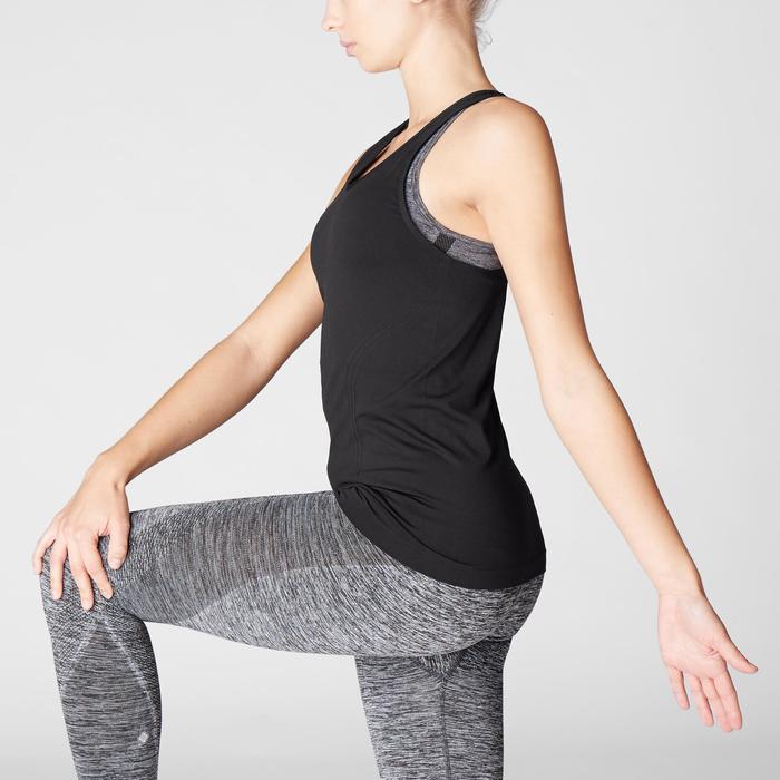 Camiseta Sin Mangas Yoga Domyos 500 Mujer Negro Sin Costuras