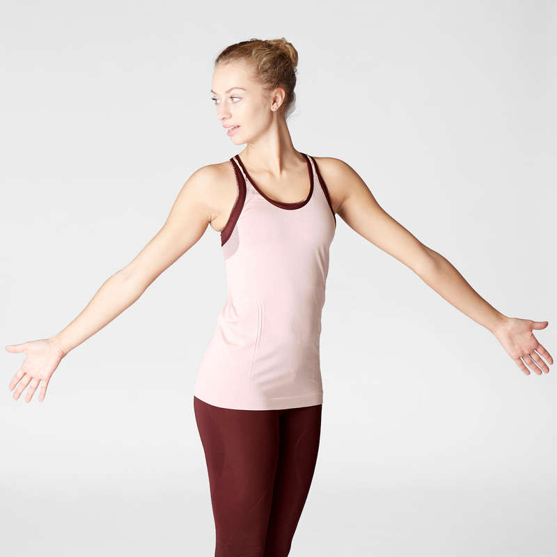 WOMAN YOGA APPAREL Clothing - Women's Seamless Yoga Tank Top DOMYOS - By Sport