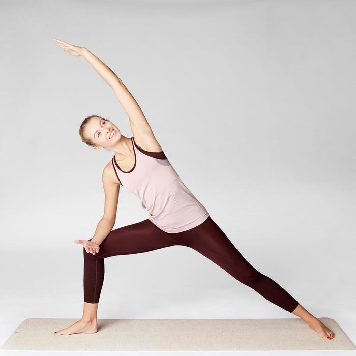 Camiseta Sin Mangas Yoga Domyos 500 Sin costuras Mujer Rosa Claro