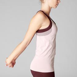 Camiseta Sin Mangas Yoga Domyos 500 Mujer Rosa Claro Sin Costuras