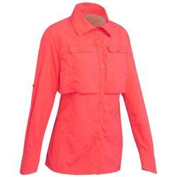 女款沙漠健行長袖上衣Desert 500-粉紅色