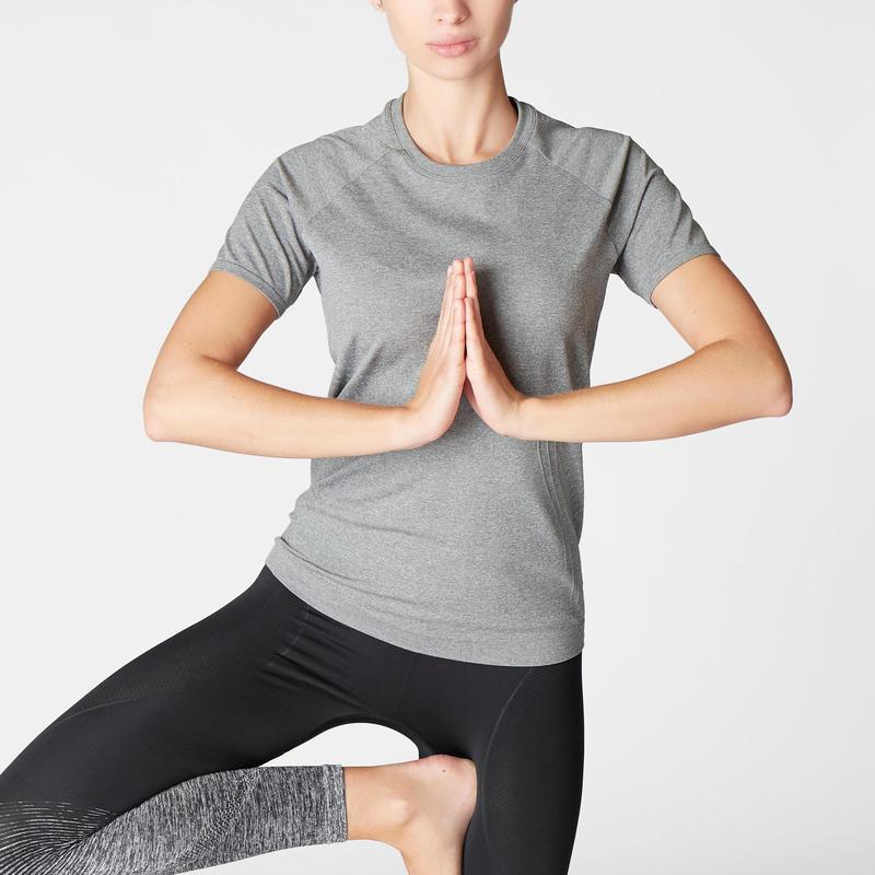Women's Seamless Dynamic Yoga T-Shirt - Mottled Grey