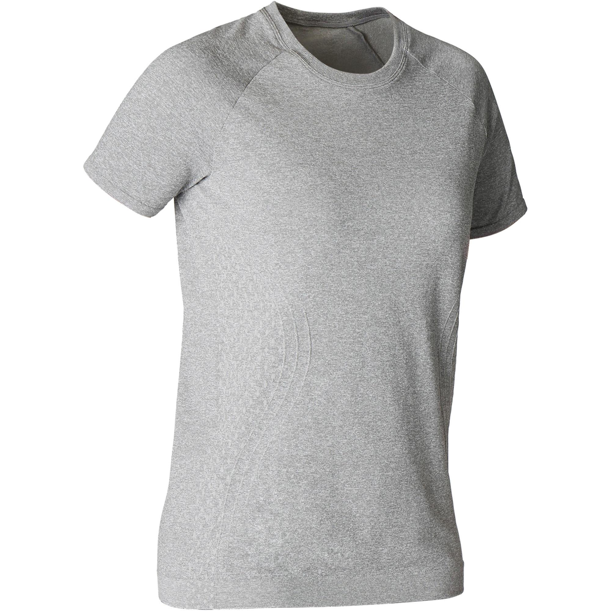 Domyos Naadloos dames T-shirt voor dynamische yoga gemêleerd grijs kopen