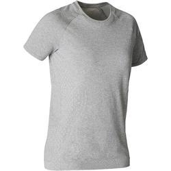 Naadloos dames T-shirt voor dynamische yoga gemêleerd grijs