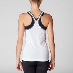 Camiseta Sin Mangas Yoga Domyos 500 Sin costuras Mujer Blanco