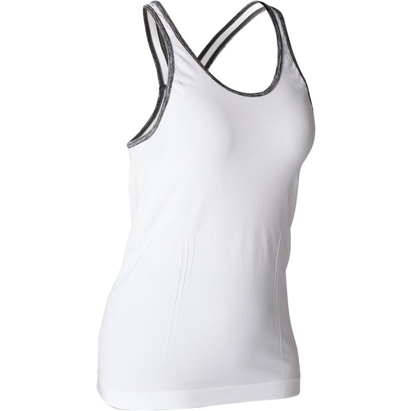 Naadloos topje voor dynamische yoga dames wit