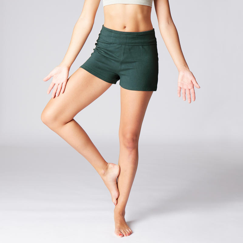 Women's Organic Cotton Gentle Yoga Shorts - Dark Green