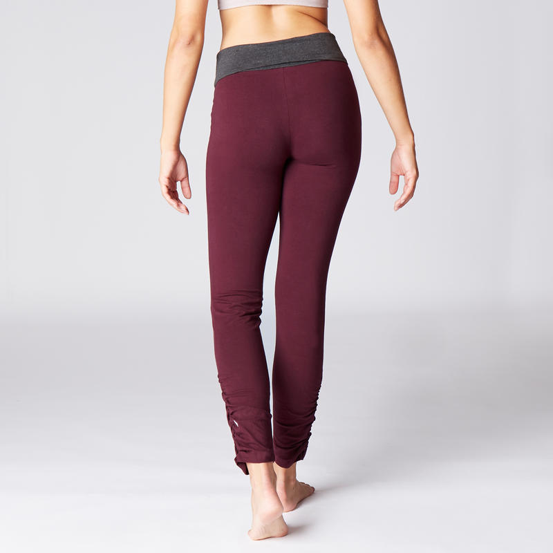 Women's Organic Cotton Gentle Yoga Leggings - Burgundy/Grey