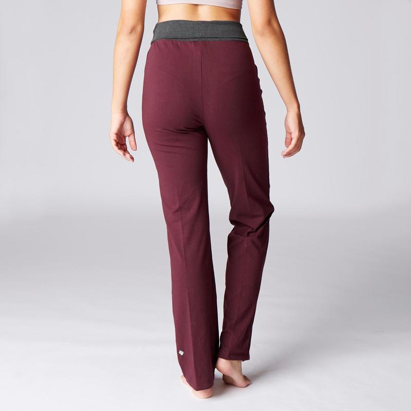 Pantalon Yoga Suave Mujer Algodon Agricultura Biologica Burdeos Gris Domyos By Decathlon