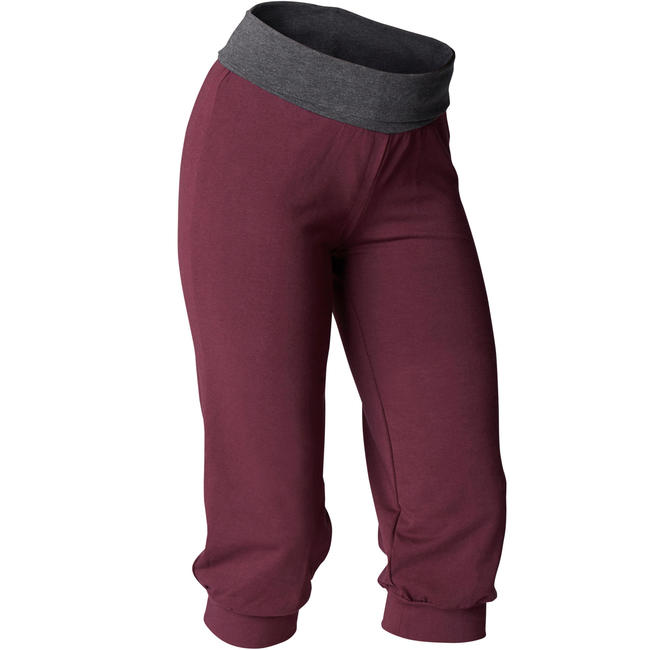 Women's Organic Cotton Gentle Yoga Cropped Bottoms - Burgundy/Grey