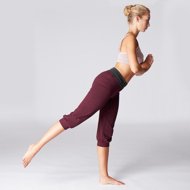 Women's Organic Cotton Gentle Yoga Cropped Bottoms - Burgundy/Grey