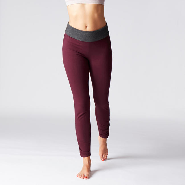 Women's Organic Cotton Gentle Yoga Leggings - Burgundy/Grey