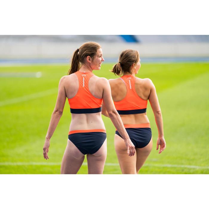Kort atletiektopje voor dames blauw en oranje