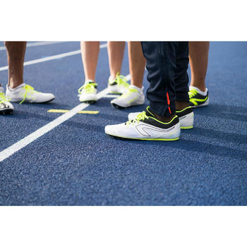 兒童與成人多功能田徑運動釘鞋 - 白色黃色