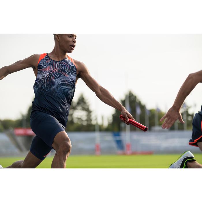 Mallas Cortas Shorts Deportivos Running Kalenji Kiprun Hombre Azul/Naranja