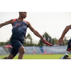 Mallas Cortas Shorts Deportivos Running Kalenji Kiprun Hombre Azul y Naranja