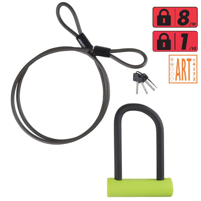 BIKE LOCKS Cycling - Bike U-Lock 920 + Cable Set B'TWIN - Bike Accessories
