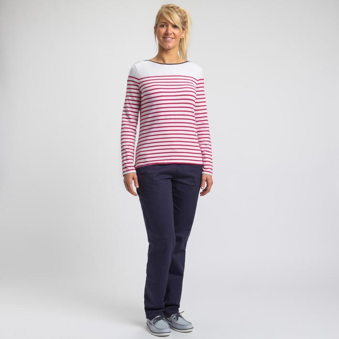 Camiseta de manga larga de vela mujer SAILING 100 Blanco rosa