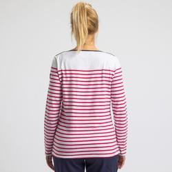 Segelshirt langarm Sailing 100 Damen weiß/pink