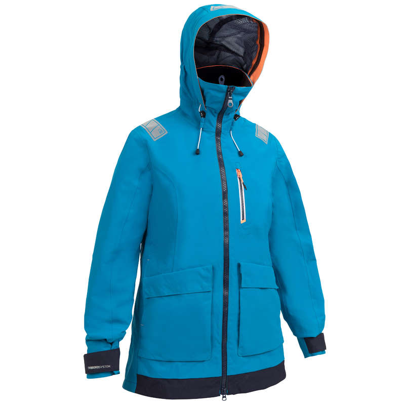 CRUISING RAINY WEATHER WOMAN CLOTHES Sailing - Sailing 500 W Jacket - Blue TRIBORD - Sailing Clothing
