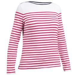 Camiseta Manga Larga Vela Tribord Sailing 100 Rallas Algodón Mujer Rosa Blanca