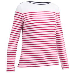 T-Shirt Manches longues de voile femme SAILING 100 Blanc rose